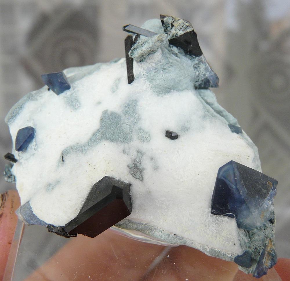 Bénitoïte etNeptunite sur Natrolite, mine Dallas Gem, San Benito county, Californie, USA.