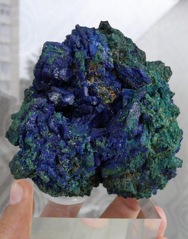 Azurtite ( bleue) et Malachite (vert), Chessy les Mines, Le bois D'Oingt, Rhône, Rhône Alpes, France.