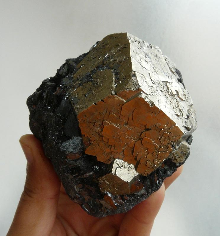 Pyrite sur Hématite, Ile d'Elbe, Italie.