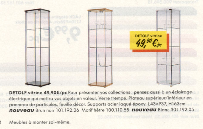 vitrine detolf ikea occasion. Black Bedroom Furniture Sets. Home Design Ideas