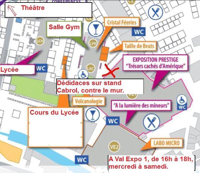 Plan de la bourse de Sainte Marie, la croix indique le stand de Pierre Clavel où se dérouleront les dédicaces du livre.